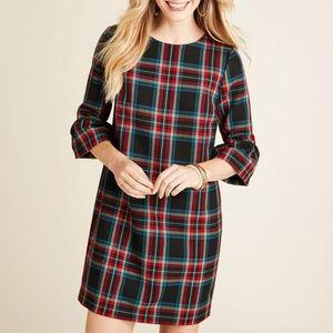 VINEYARD VINES FLUTTER SLEEVE PLAID SHIFT DRESS